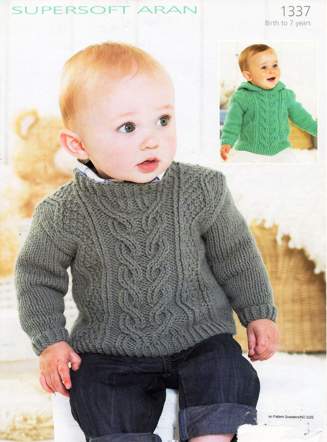 bd66fea63 baby   childs aran sweaters knitting pattern pdf cable hooded jumper aran  sweater with hood Vintage 16-26