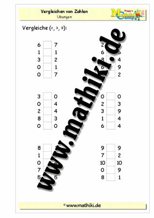 Vergleichen von Zahlen im Zahlenraum bis 10 - www.mathiki.de - Ihre ...