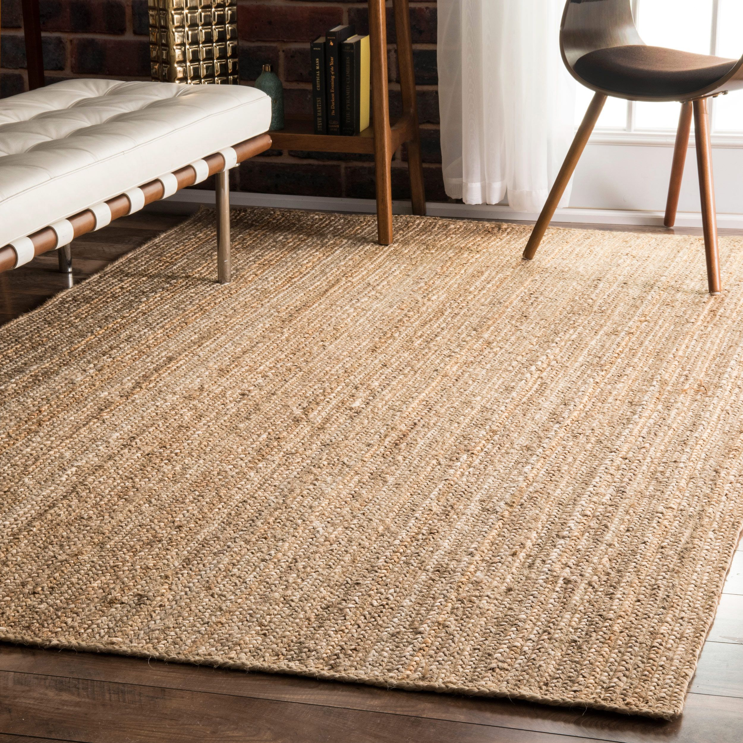 Nuloom Alexa Eco Natural Fiber Braided Reversible Jute Rug 8 X 10