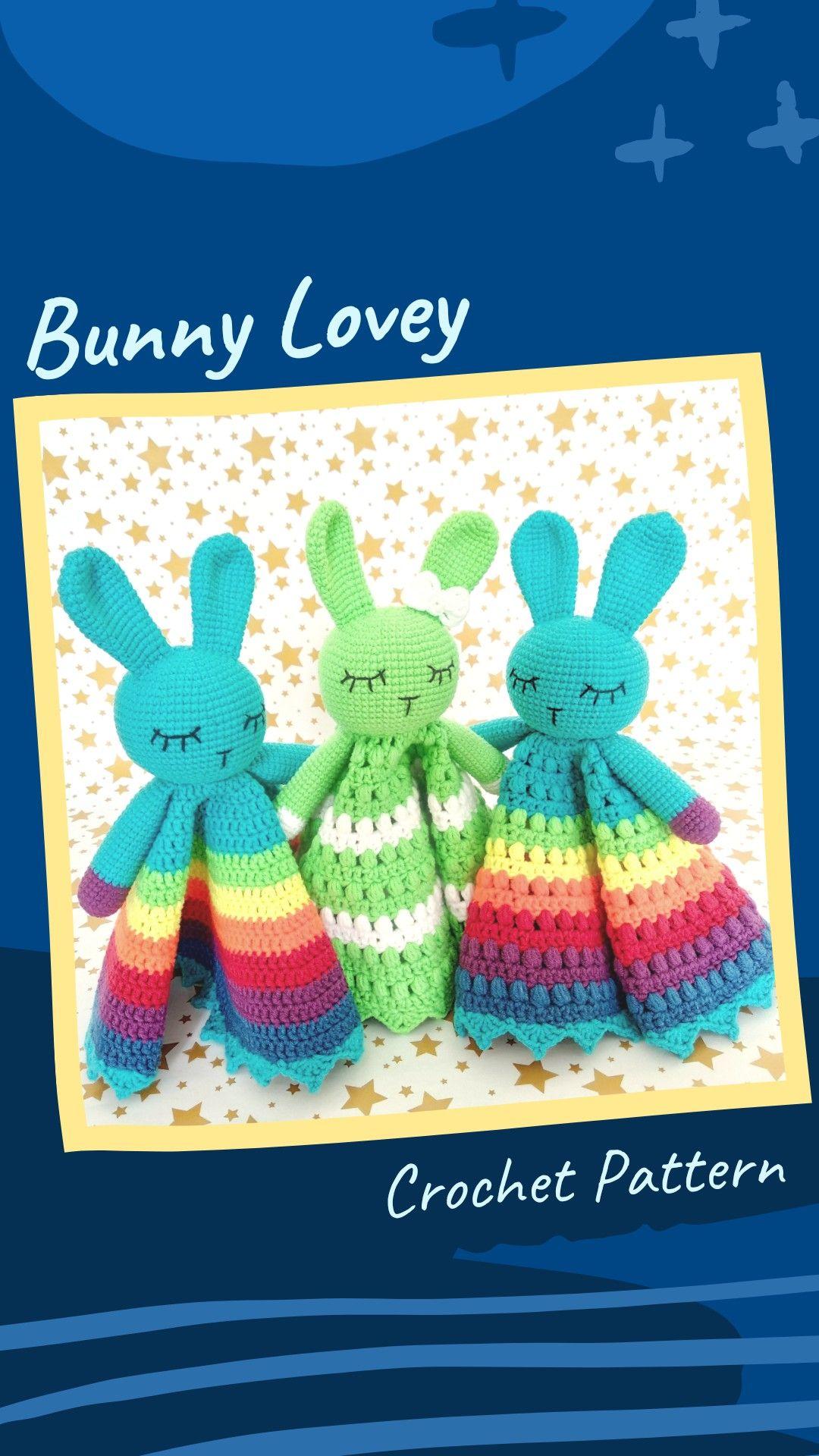 Handmade Crocheted Bunny Comforter  Snuggle Blanket  Lovey  Baby Gift  Baby Shower  Blanket  Rabbit