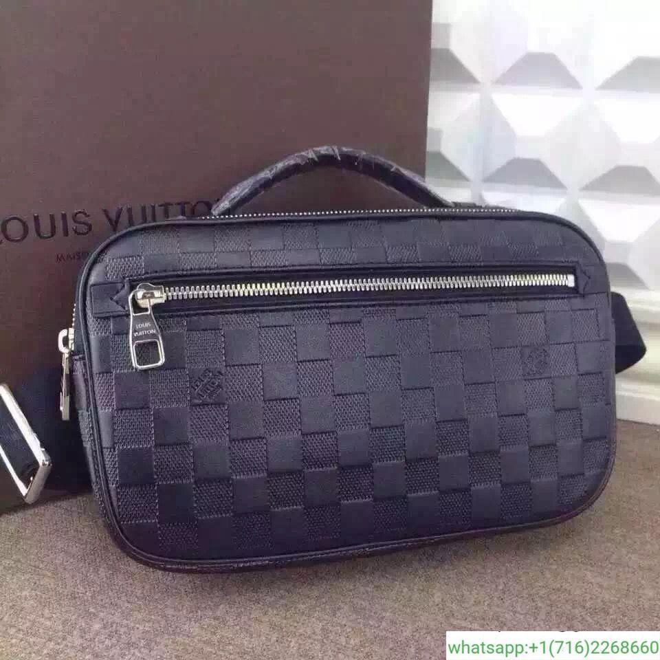 ba0e1afe815f LOUIS VUITTON Ambler Damier Infini Waist Body Bag Pouch Leather Onyx N41288