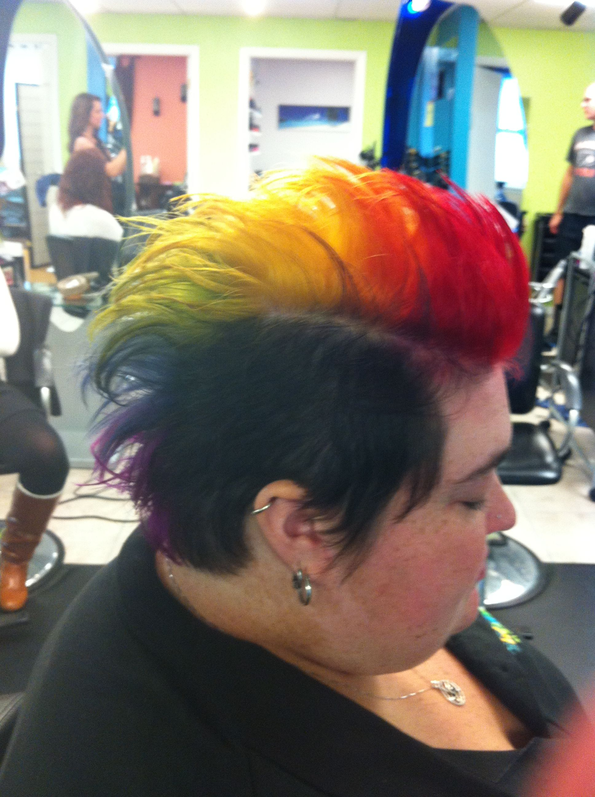 Rainbow mohawk we did for a dj from a local radio station for their
