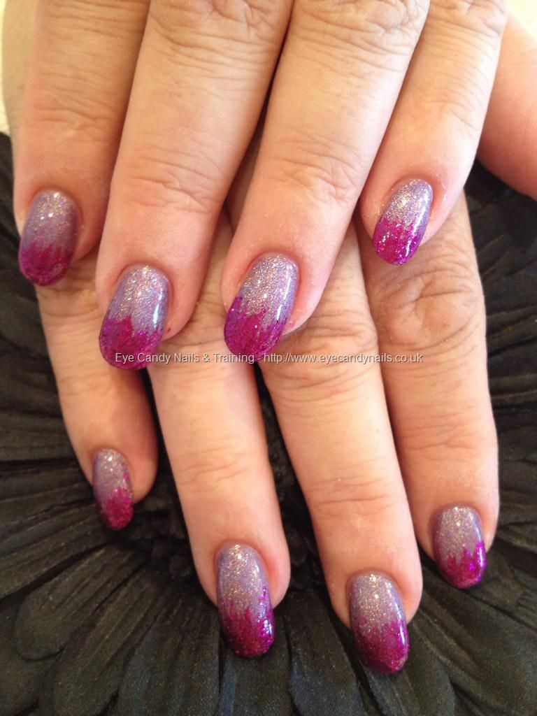 Pink and purple glitter nail art | I'm a purple girl in ...