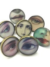 Photo of Lover's eye, resin ring, eye ring. Modern jewelry. Gift for her, lips, kiss, fa …