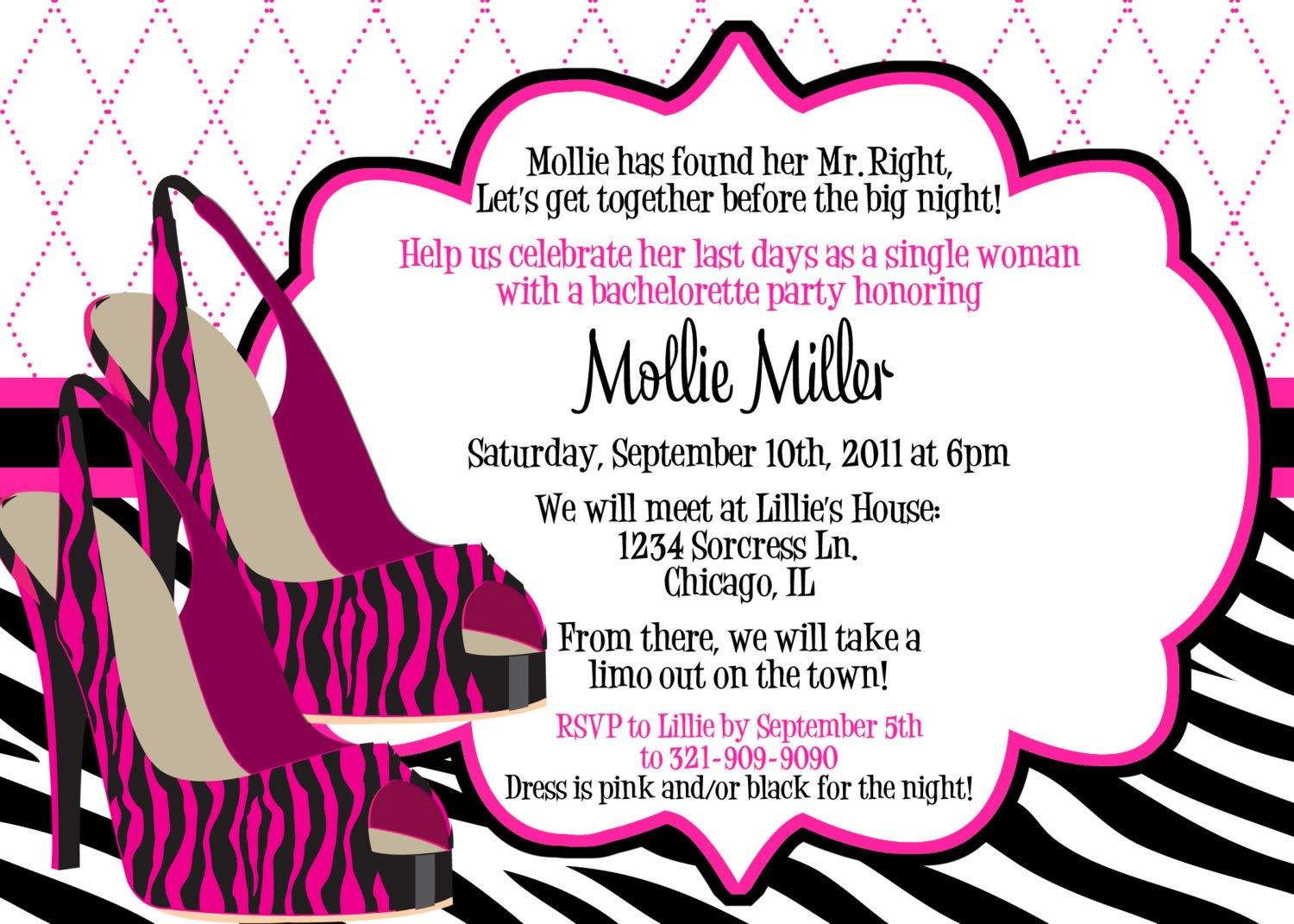 Zebra heels pink and black bachelorette party invitation zebra heels pink and black bachelorette party invitation customizable and printable stopboris Images