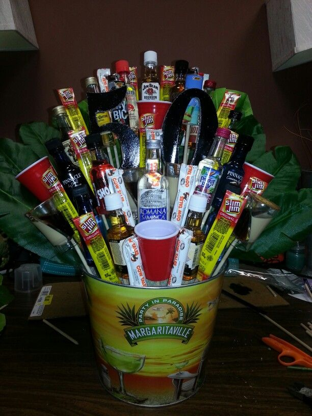 Man Bouquet 50th Birthday Gift Mage With Mini Liquor
