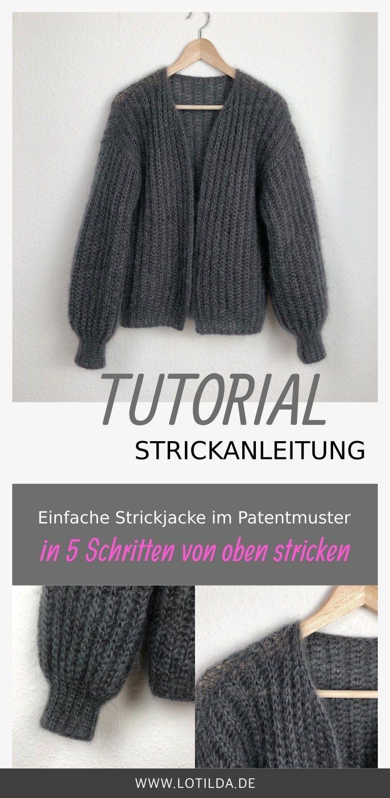 Tutorial - Strickanleitung - Einfache Strickjacke im Patentmuster von oben stricken #babyponcho