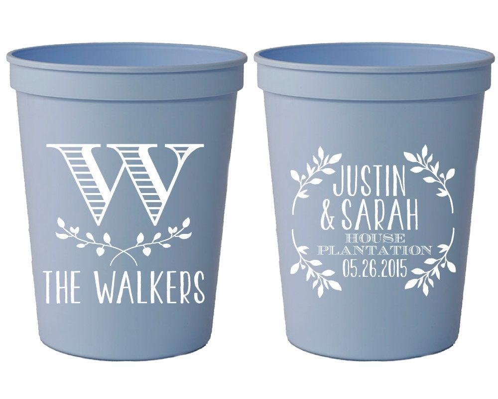Plastic Wedding Invitations: Wedding Favor Cups, Personalized Wedding Cups, Monogrammed