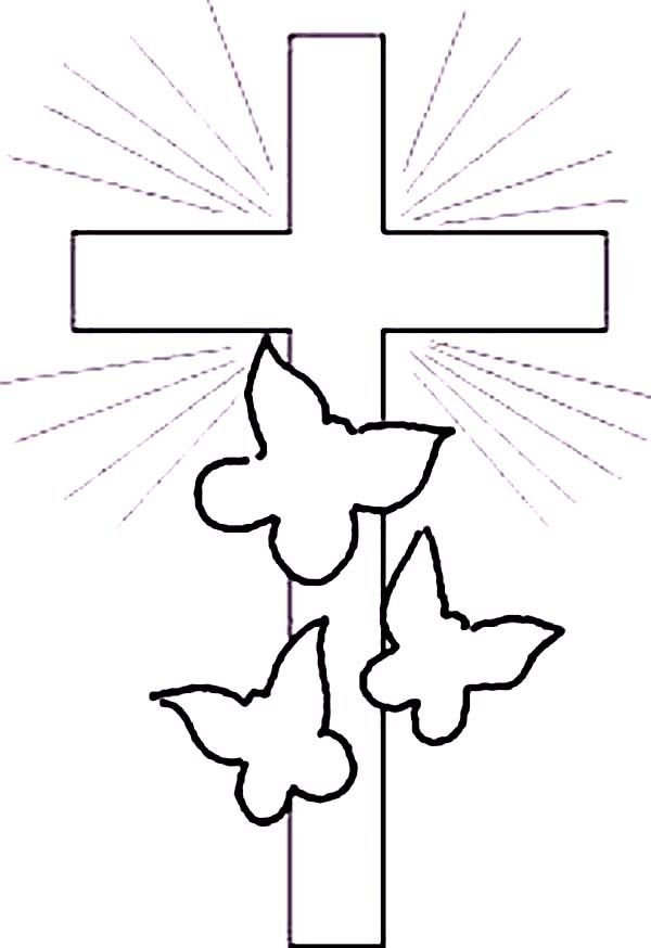 Cross And Three Butterfly In Shimmering Light Coloring Page
