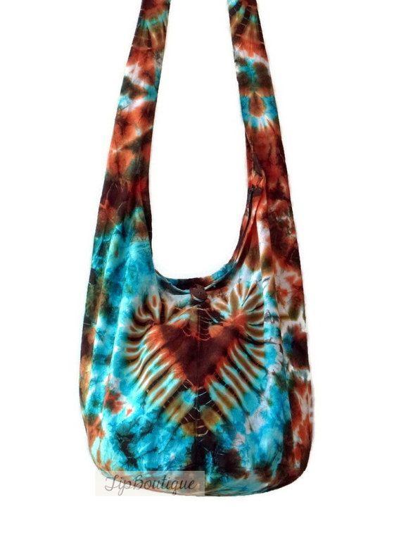 d68476607f1 Large Hippie Crossbody Bag Tie dye Hobo Boho Vegan Yoga Girl   Boho ...
