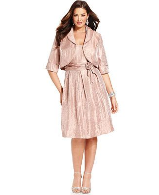 Le Bos Plus Size Dress and Jacket, Sleeveless Shimmer - Plus Size ...