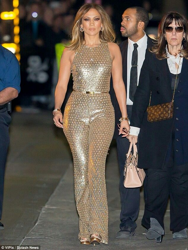 Jlo In Gold Fashion Metallic Jumpsuits Celebrity Style