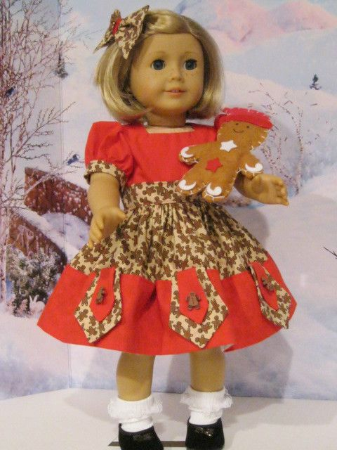 """Gingerbread Goodness for Maryellen, Grace, Kit,. 18"""" American Girl Doll Clothes #Handmade #DollClothes"""