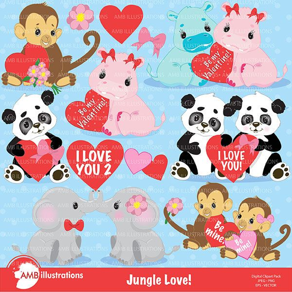 Valentine Jungle Critters Clipart Valentine Clipart Etsy Valentine Clipart Clip Art Valentine
