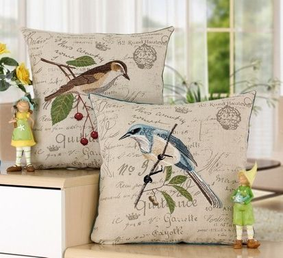 New Designer High Quality Decorative Linen Embroidery Pillow Case Covers Vintage Pillowcase Cute Birds Throw Pillow Cases