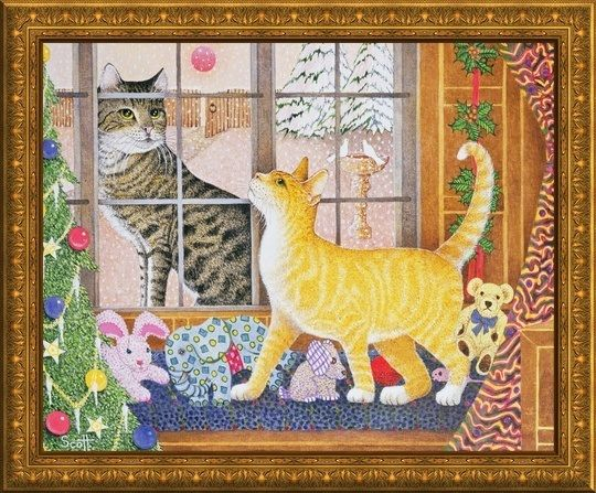 """First Footing"" Christmas Cat Wall Art by Scott Pat. Featured with the Gold Framed Canvas, available at GreatBIGCanvas.com"
