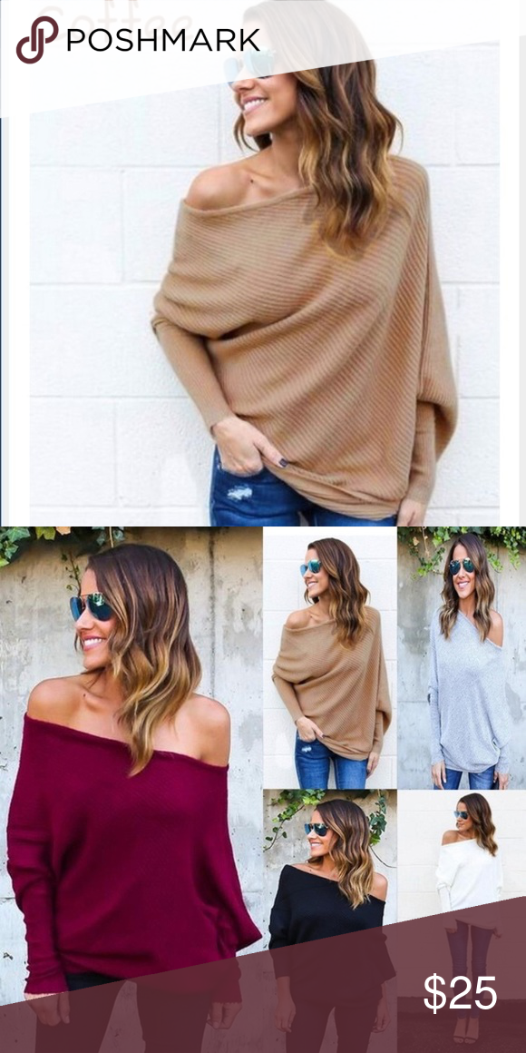 JUST IN Off the Shoulder Sexy Loose Knitted Top  Just in❗ Knitted off the  shoulder blouse. Very comfortable and loose but also a little sexy.