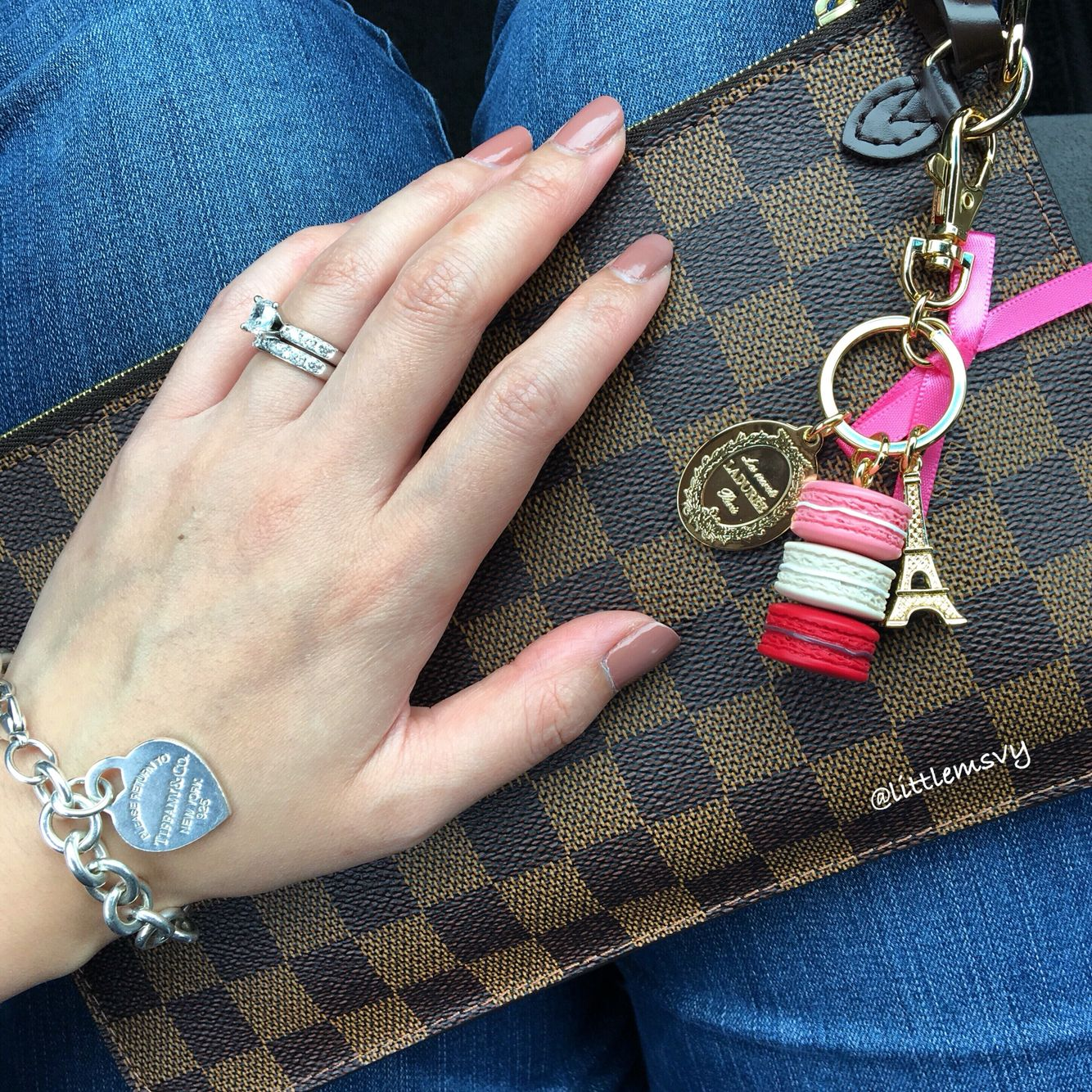 Louis Vuitton Neverfull Clutch in Damier Ebene .. Laduree Bag Charm ..  Tiffany and Co Heart Tag Bracelet f489674d56