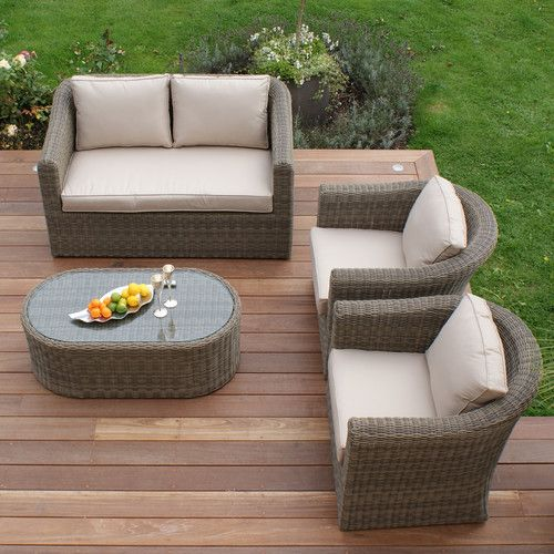 Maze Rattan Winchester 4 Piece Seating Group With Table And Cushions Furniture