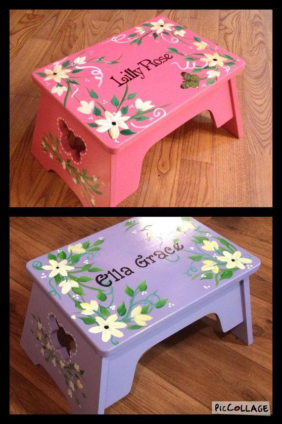Whimsical Painted Furniture Painted Step Stool Child S Etsy Whimsical Painted Furniture Painted Stools Step Stool Kids