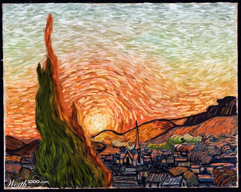 Blazing Sunset A not so Starry Night Art Pinterest