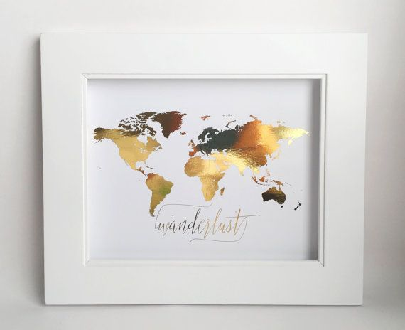 Wanderlust Wall Art, Real Gold Foil, World Map, Travel Map, Decor by PoppyandErie