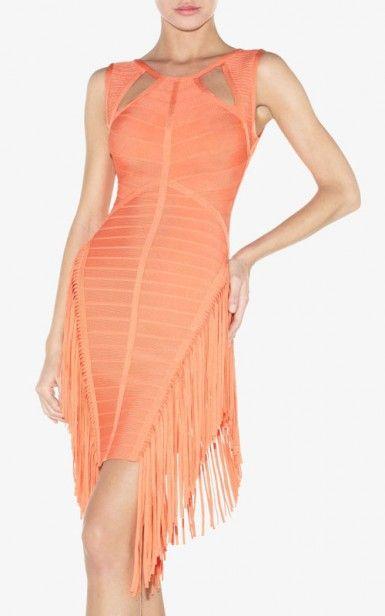 Tasseled Hever Leger Orange Round Neck Bandage Dress Cheap