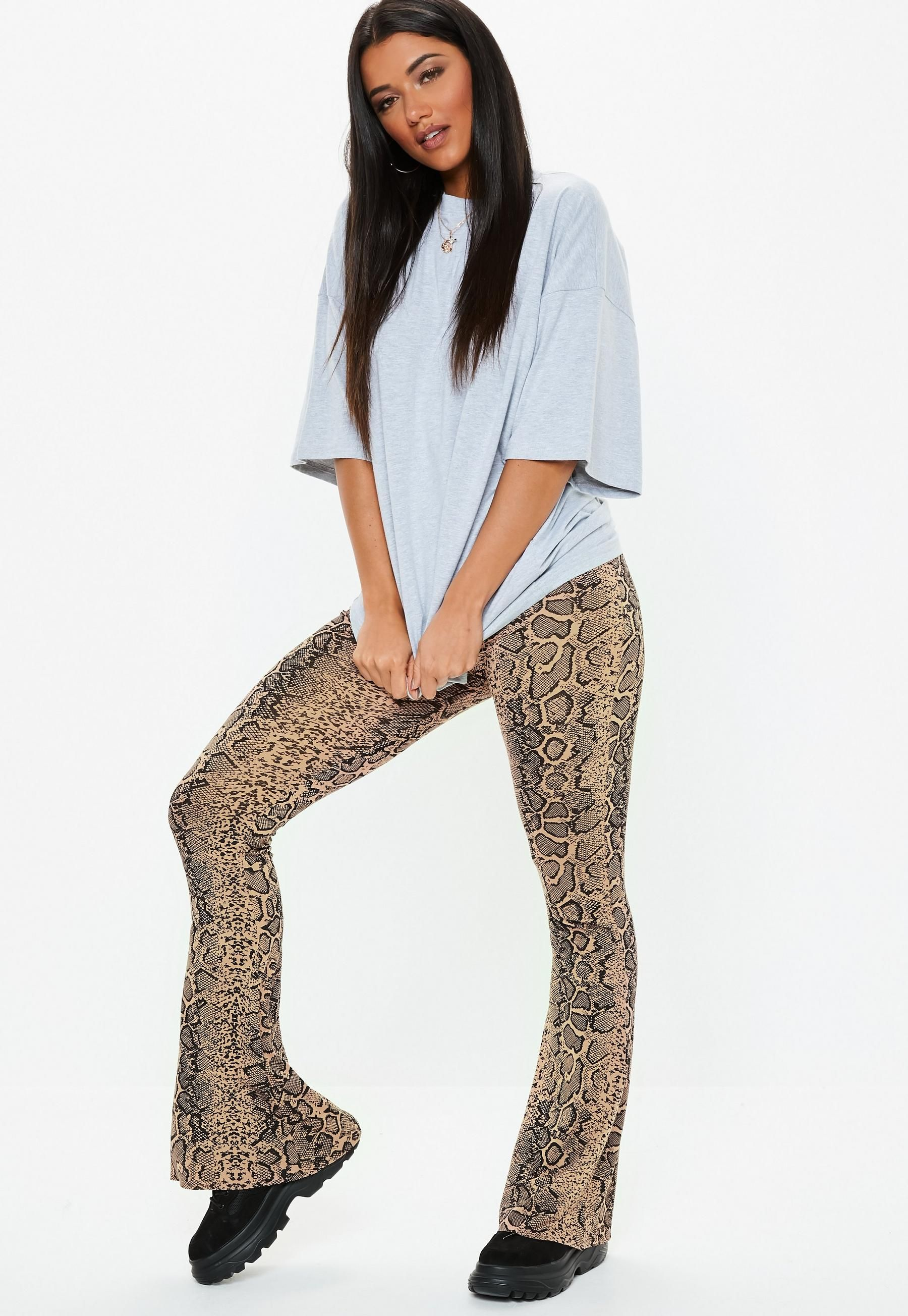 attractive & durable moderate price footwear Tall Brown High Waist Kick Flare Snake Print Pants ...