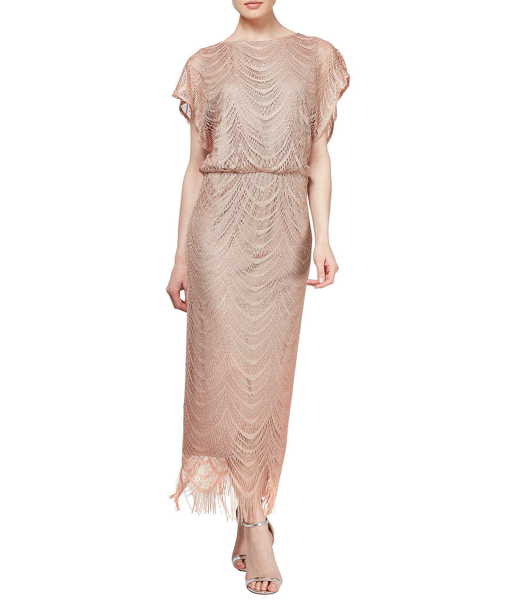 Ignite Evenings Short Sleeve Fringe Hem Crochet Blouson Long Dress Dillard S Fashion Sl Fashions Maxi Dress Cocktail [ 2040 x 1760 Pixel ]