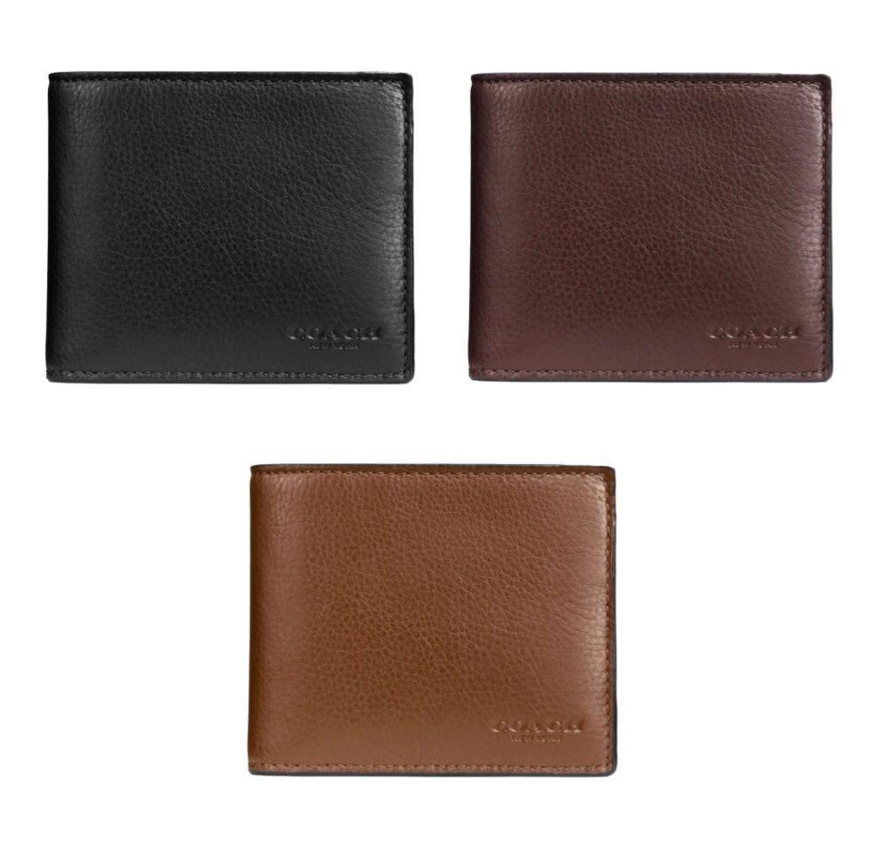 a53ea20e7ae9 fashion Coach F74991 Men s Compact ID Leather Wallet Black Mahogany Dark  Saddle