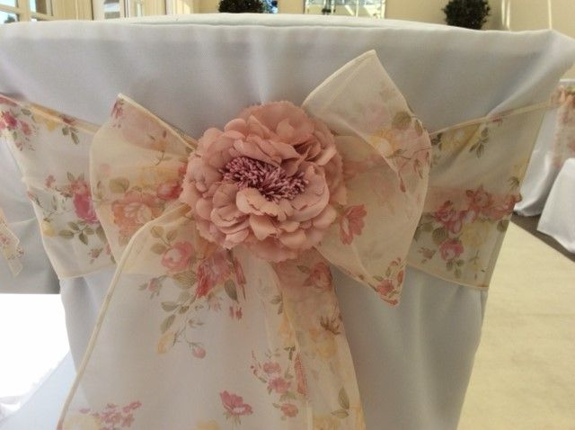 Vintage Lace Chair Cover Sashes Bows