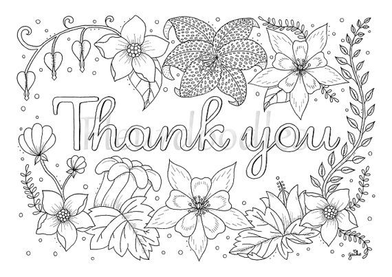 adult coloring page - Thank you - printable download, colouring ...