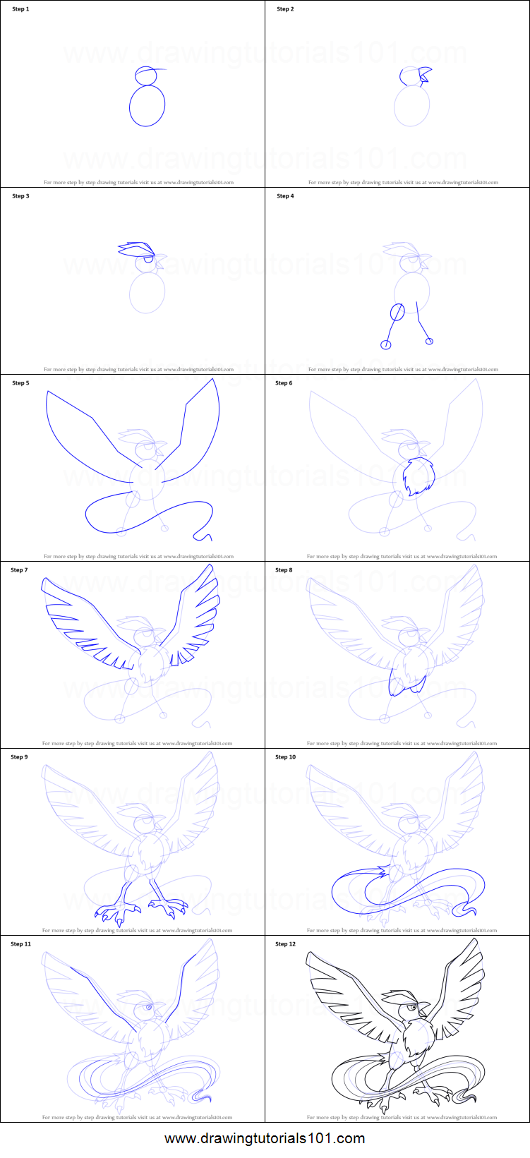 How To Draw Articuno From Pokemon Printable Drawing Sheet By