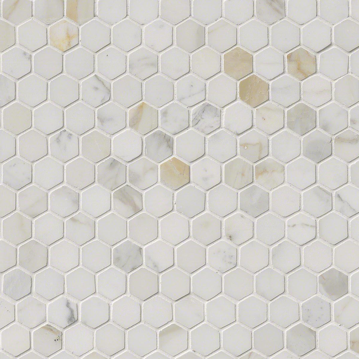 Calacatta Gold Marble 1 Hexagon Polished Mosaics Calacatta Gold Hexagonal Mosaic Calacatta Gold Marble
