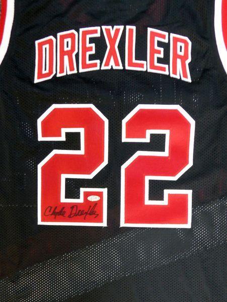 Portland Trail Blazers Clyde Drexler Autographed Black Jersey Steiner Holo Portland Trailblazers Clyde Drexler Trail Blazers