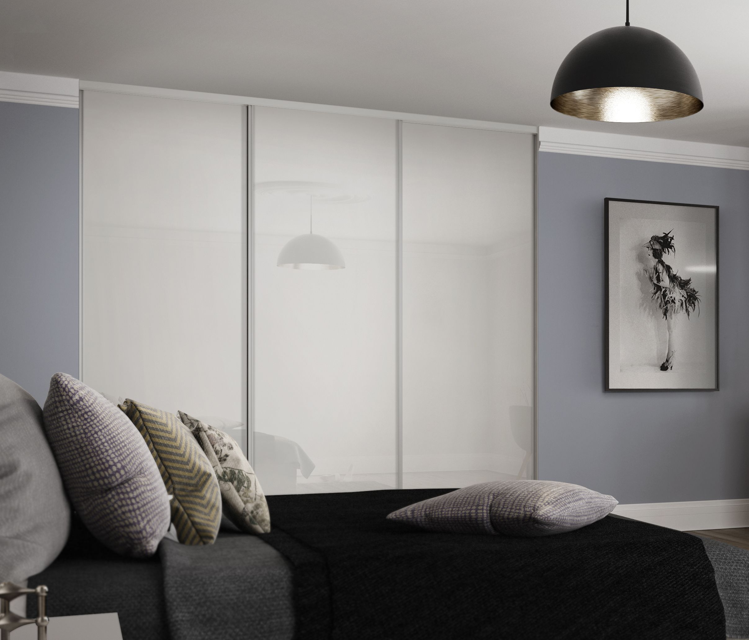 Classic Single Panel Sliding Wardrobe Doors In Arctic White Glass  # Giellesse Muebles