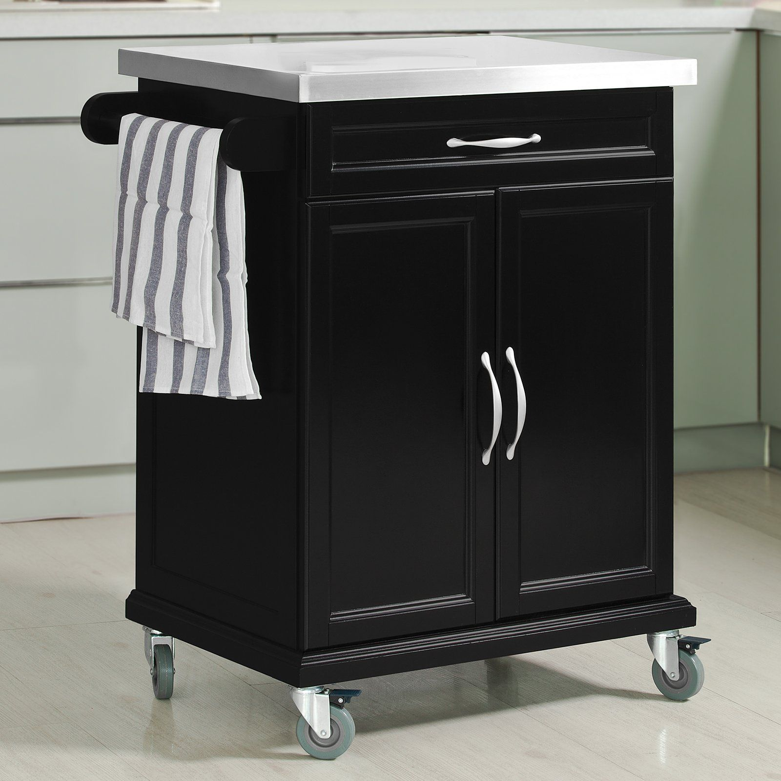 Sobuy Wood Kitchen Cabinet Kitchen Cart Island Storage Trolley With Stainless Steel Surfa Black Kitchen Storage Kitchen Storage Trolley Wood Kitchen Cabinets
