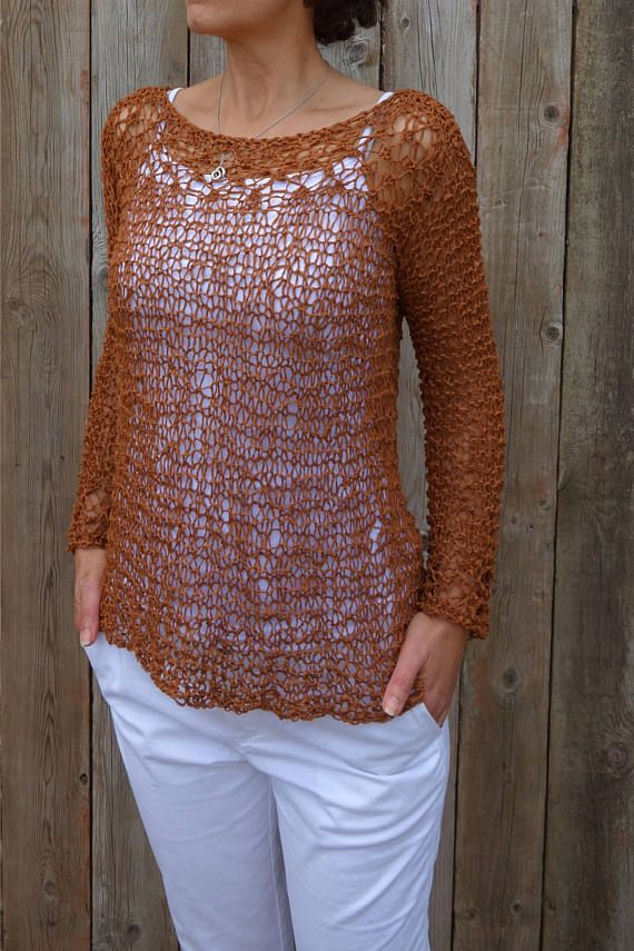 c92b2e705 This light summer sweater is a quick and easy project. The intricate loose  knit is worked bottom-up