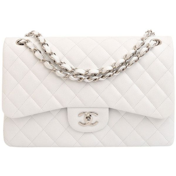 d05d9584279b Chanel White Quilted Caviar Jumbo Classic 2.55 Double Flap Bag ...
