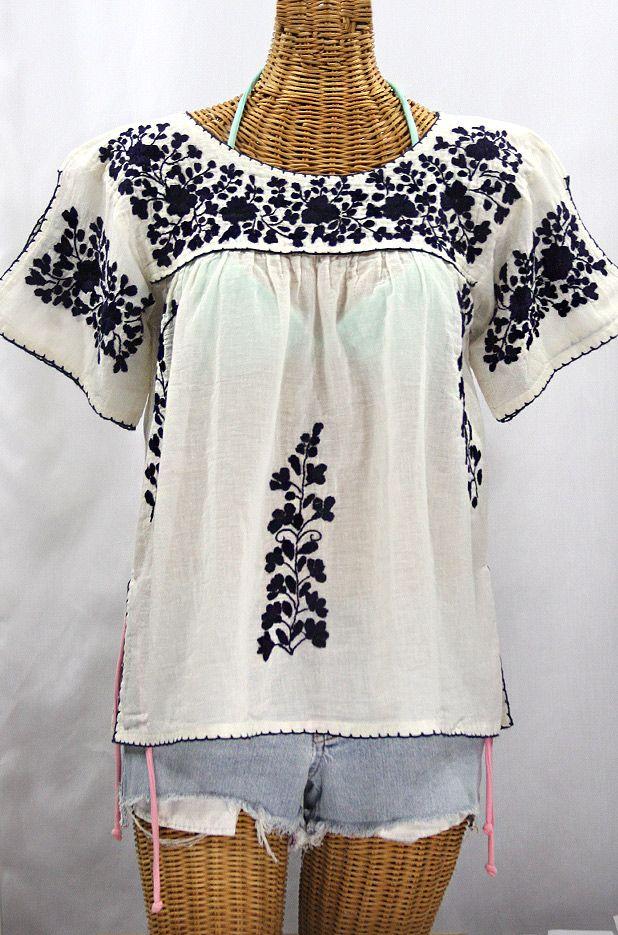 La Lijera Embroidered Peasant Blouse Mexican Style Off White