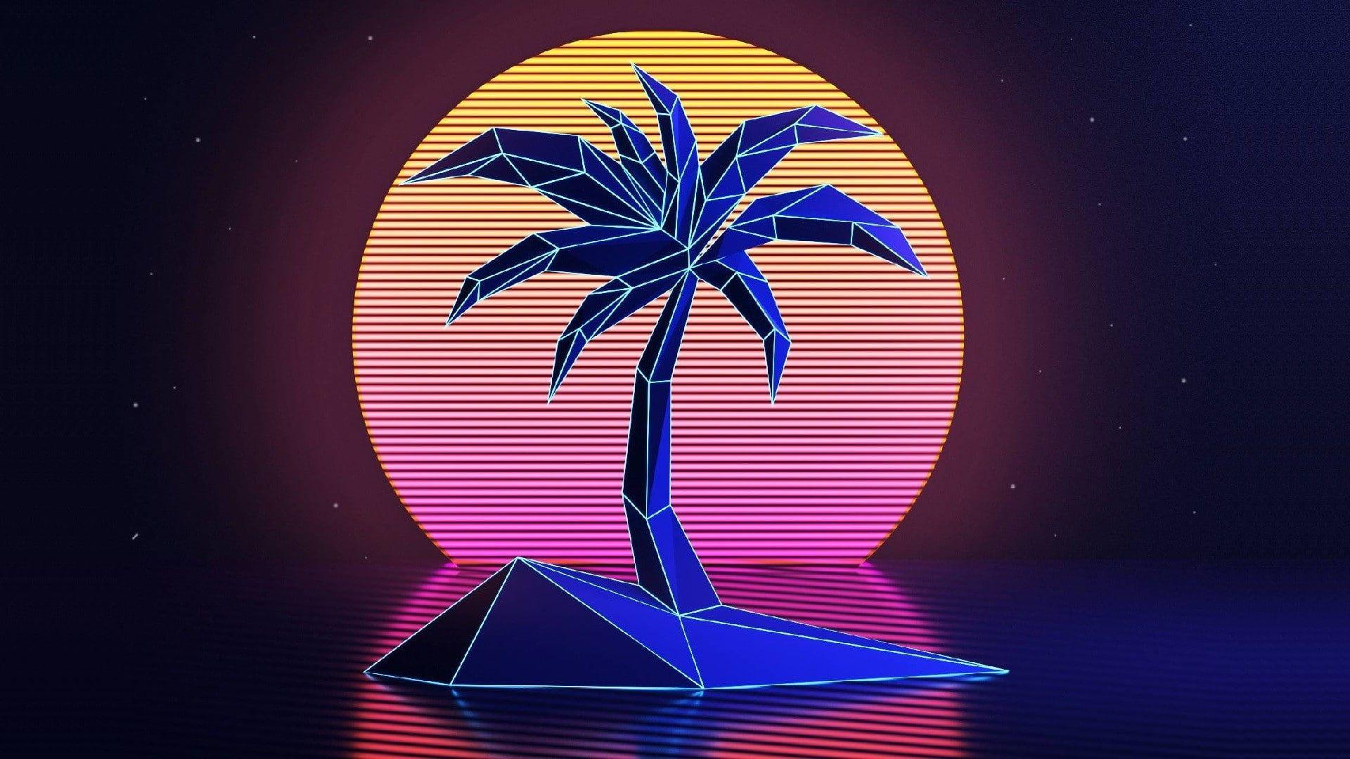 Vhs Palm Trees Vintage Retro Style Sunset Neon 1980s New Retro Wave 1080p Wallpaper Hdwallpaper Desktop In 2020 Neon Wallpaper Neon Backgrounds Retro Waves