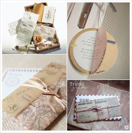faire part mariage voyage globeboite souvenir courrier