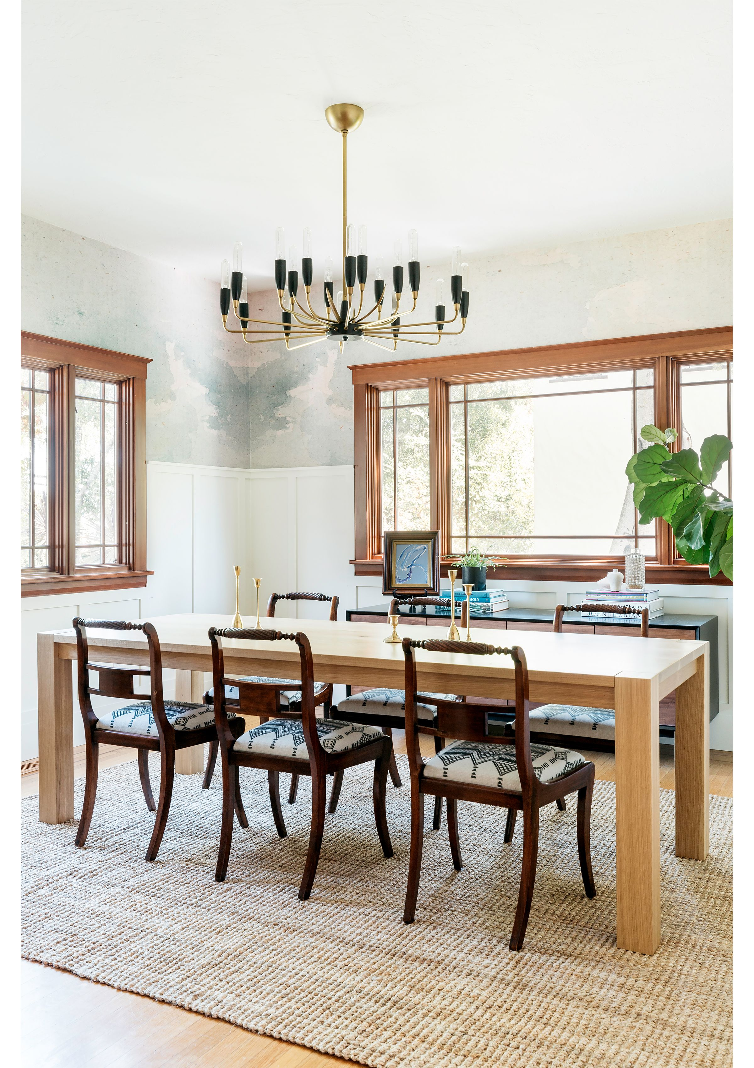 Modern Traditional Dining Room Modern Chandelier Wallpaper Millwork Wainscoting Dining Room Chandelier Modern Modern Traditional Dining Room Interior