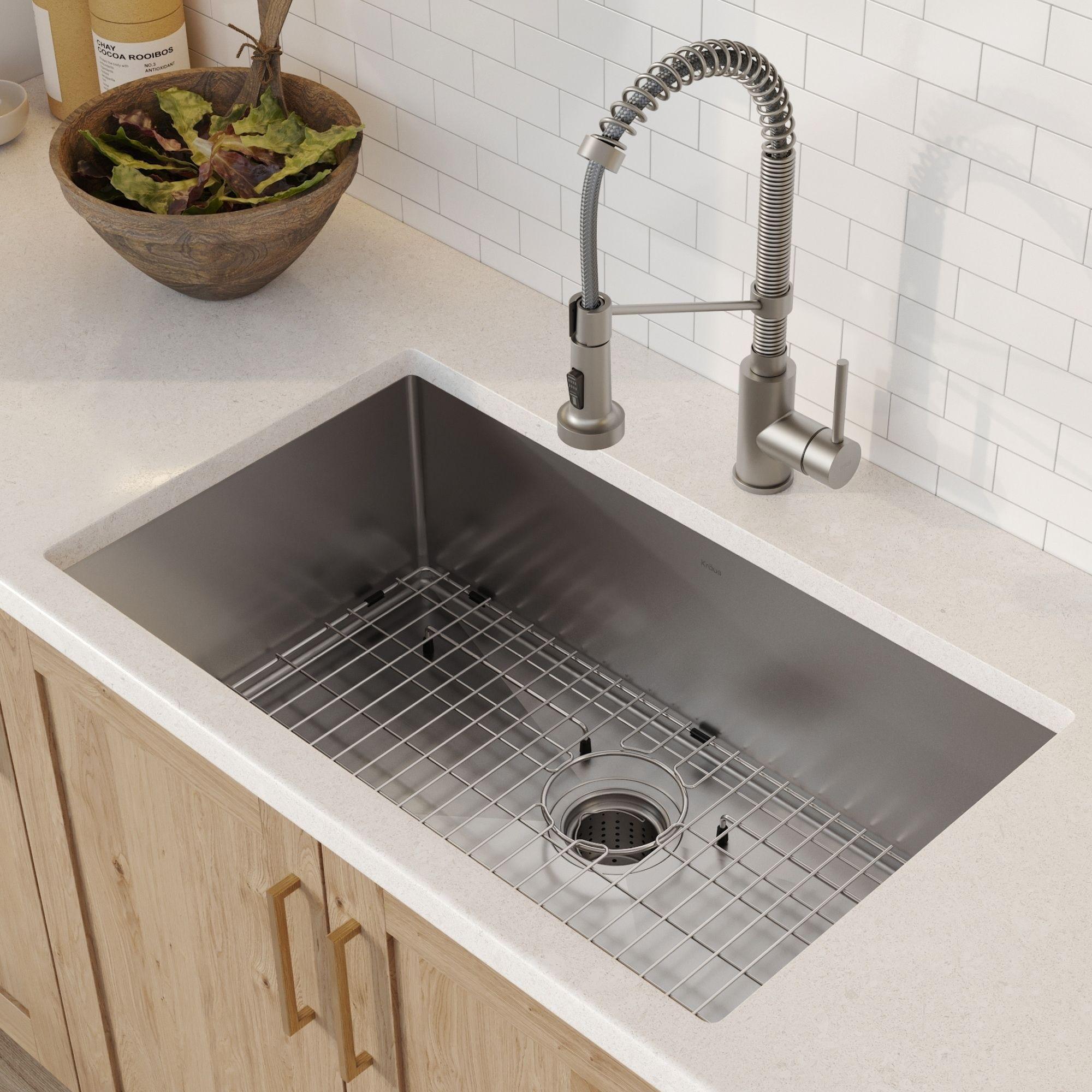 Kraus 32 Inch Stainless Steel Kitchen Sink Faucet Soap Dispenser