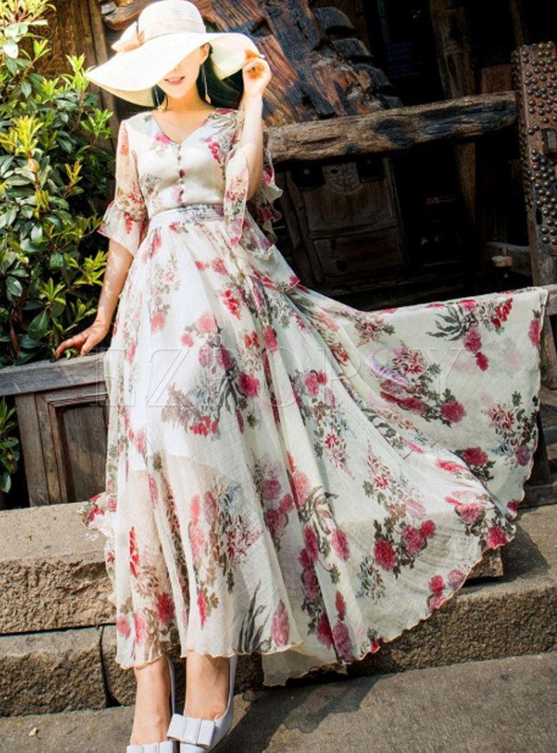 Dresses Maxi Dresses Vintage Flare Sleeve Chiffon Beach Beaded Print Dress Printed Long Dresses Flower Print Long Dress Vintage Maxi Dress [ 1066 x 789 Pixel ]