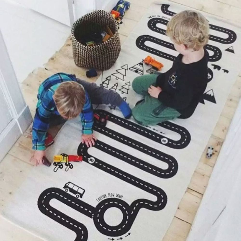 Kids Play Game Mat Rectangle Carpet Rugs Mat Cotton Car