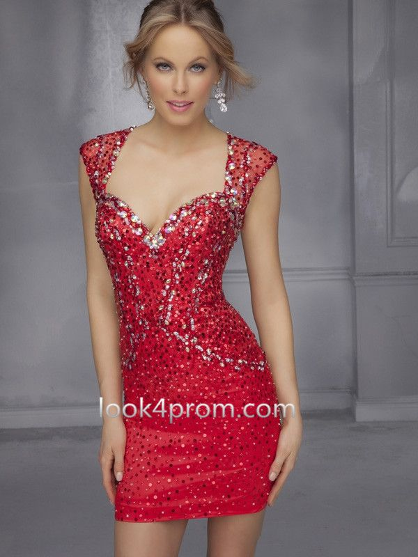 Sequins Homecoming Dress/Cocktail Dress in Red