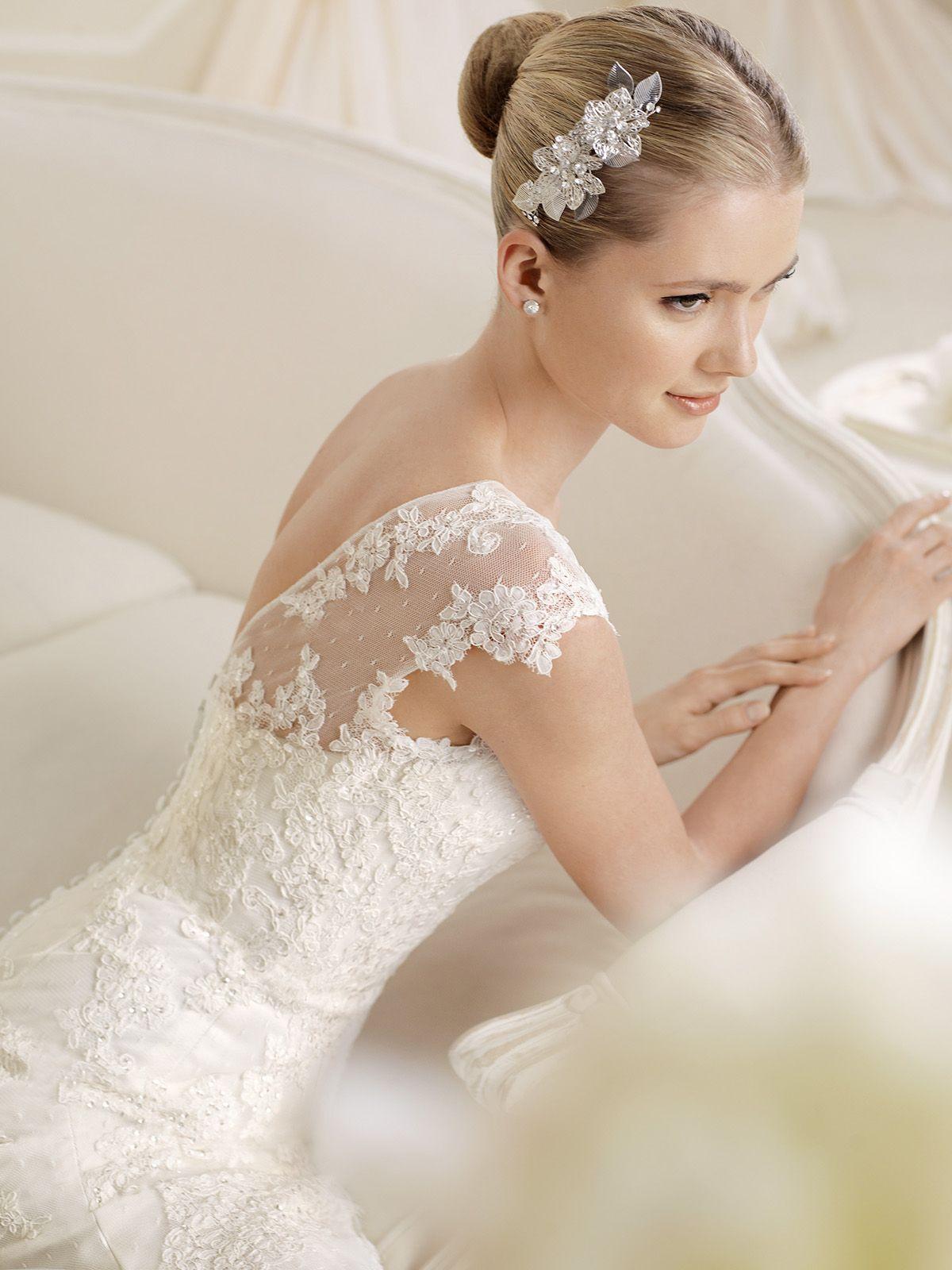 Unique Boat Neckline Fitted La Sposa Wedding Dress Idalis DimitraDesigns