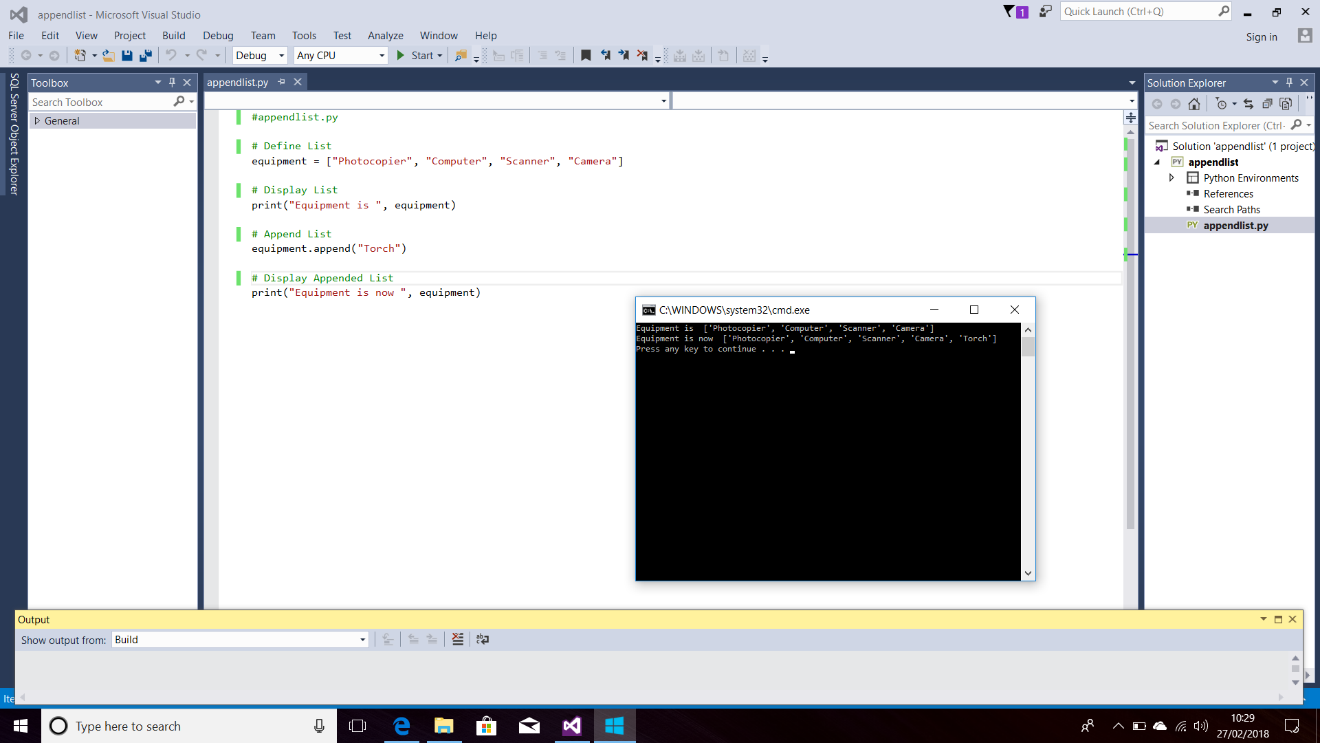 Screenshot of Python Code with Append Lists. Displayed