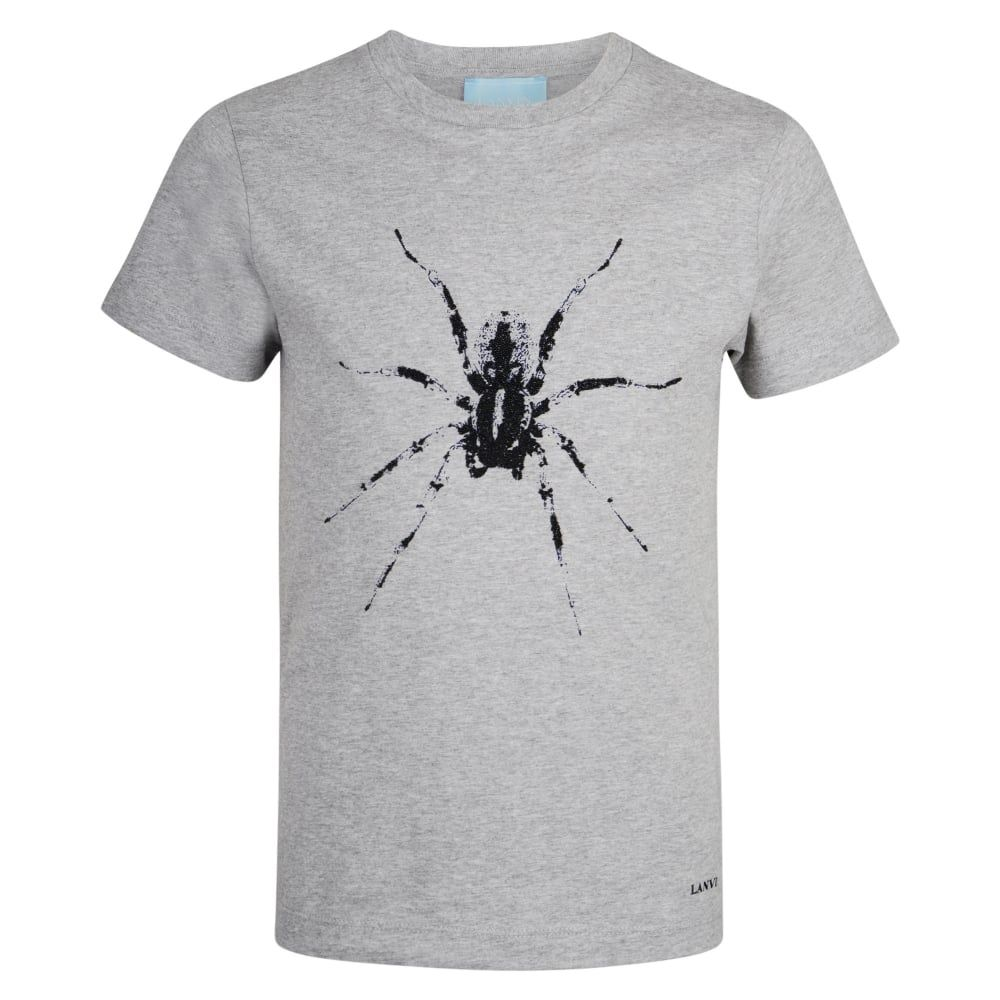 64f54370e Lanvin Boys Grey T-Shirt with Beaded Spider and Logo Print ...